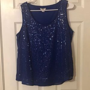 NWOT Cato royal blue sequence blouse